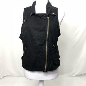 Maurices Size Large Linen Blend Black Zipper Vest